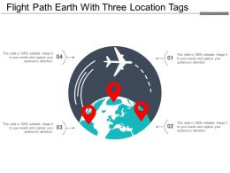 Flight Path Earth With Three Location Tags