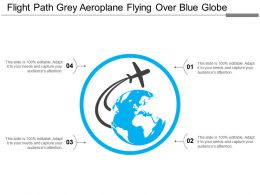 Flight Path Grey Aeroplane Flying Over Blue Globe