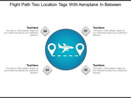 Flight Path Two Location Tags With Aeroplane In Between