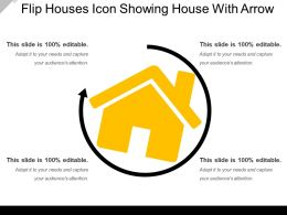 Flip Houses Icon Showing House With Arrow