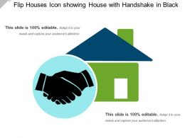 Flip Houses Icon Showing House With Handshake In Black