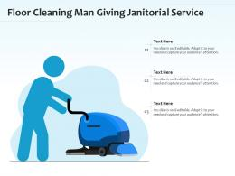 Floor Cleaning Man Giving Janitorial Service