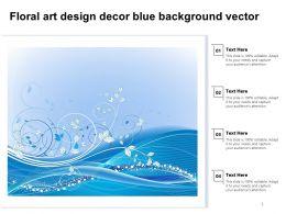 Floral Art Design Decor Blue Background Vector