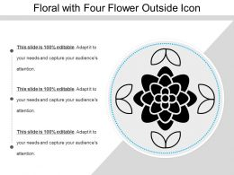 Floral With Four Flower Outside Icon