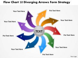flow chart 10 diverging arrows form strategy Circular Network PowerPoint Slides