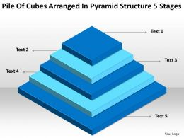 Flow Chart Business Pile Of Cubes Arranged Pyramid Structure 5 Stages Powerpoint Slides