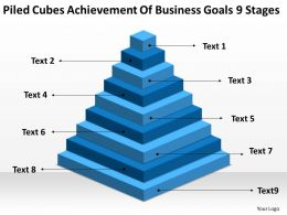 Flow Chart Business Piled Cubes Achievement Of Goals 9 Stages Powerpoint Slides