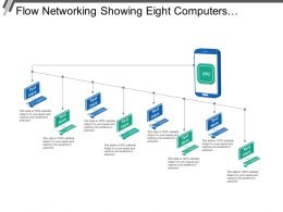 Flow Networking Showing Eight Computers Connected With Server