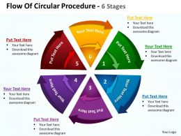 flow of circular procedure 6 stages shown by circling arrows and pie chart powerpoint templates 0712