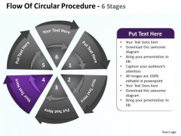flow_of_circular_procedure_6_stages_shown_by_circling_arrows_and_pie_chart_powerpoint_templates_0712_Slide05