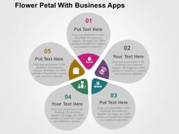 Flower Petal With Business Apps Flat Powerpoint Design