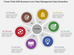 flower_petal_with_business_icons_team_management_idea_generation_flat_powerpoint_design_Slide01