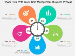 Flower Petal With Clock Time Management Business Process Flat Powerpoint Design