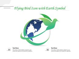Flying Bird Icon With Earth Symbol