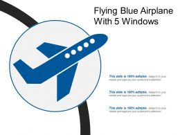 Flying Blue Airplane With 5 Windows