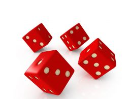 Flying Red Dices Showing Concept Of Gaming Stock Photo