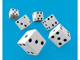 Flying White Dices On Blue Background Stock Photo