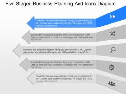 fm Five Staged Business Planning And Icons Diagram Powerpoint Template