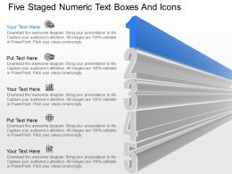 fm Five Staged Numeric Text Boxes And Icons Powerpoint Template