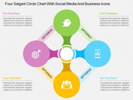 Fm Four Staged Circle Chart With Social Media And Business Icons Flat Powerpoint Design