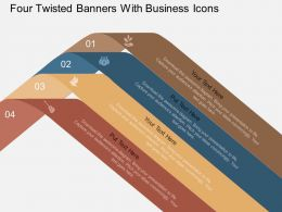 fm Four Twisted Banners With Business Icons Flat Powerpoint Design