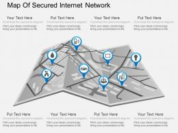 Fm Map Of Secured Internet Network Powerpoint Template