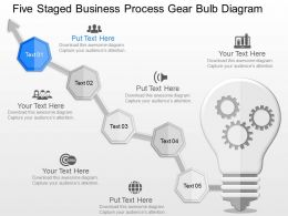 fn Five Staged Business Process Gear Bulb Diagram Powerpoint Template
