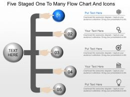 fn Five Staged One To Many Flow Chart And Icons Powerpoint Template