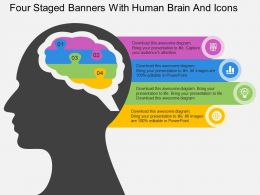 Fn Four Staged Banners With Human Brain And Icons Flat Powerpoint Design