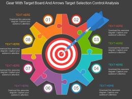 Fn Gear With Target Board And Arrows Target Selection Control Analysis Flat Powerpoint Design
