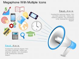 Fn Megaphone With Multiple Icons Powerpoint Template
