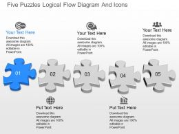 fo Five Puzzles Logical Flow Diagram And Icons Powerpoint Template