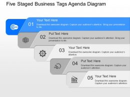 fo Five Staged Business Tags Agenda Diagram Powerpoint Template