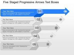 fo Five Staged Progressive Arrows Text Boxes Powerpoint Template