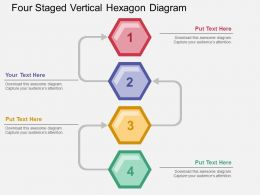 Fo Four Staged Vertical Hexagon Diagram Flat Powerpoint Design