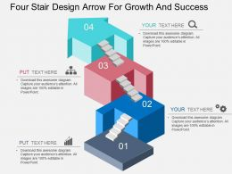 Fo Four Stair Design Arrow For Growth And Success Flat Powerpoint Design