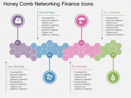 Fo Honey Comb Networking Finance Icons Flat Powerpoint Design