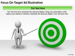 Focus On Target 3d Illustration Ppt Graphics Icons Powerpoint