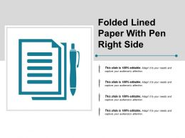 Folded Lined Paper With Pen Right Side