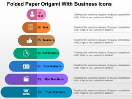Folded Paper Origami With Business Icons Flat Powerpoint Design