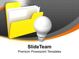 Folder Icon With Light Bulb Idea Discussion Powerpoint Templates Ppt Themes And Graphics 0113