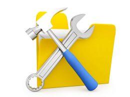 Folder With Tool Stock Photo