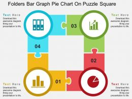 folders_bar_graph_pie_chart_on_puzzle_square_flat_powerpoint_design_Slide01
