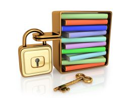 Folders In Admiral With Lock Data Security Concept Stock Photo