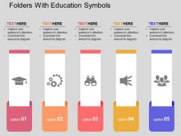 Folders With Education Symbols Flat Powerpoint Design