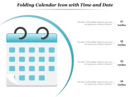 Folding Calendar Icon With Time And Date