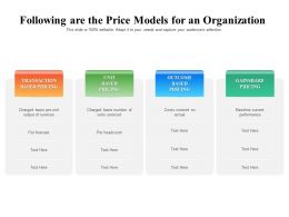 Following Are The Price Models For An Organization