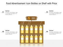 Food Advertisement Icon Bottles On Shelf With Price