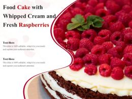 Food Cake With Whipped Cream And Fresh Raspberries