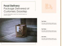 Food Delivery Package Delivered At Customers Doorstep Infographic Template